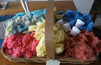 Dyed Cotton Lint in Basket