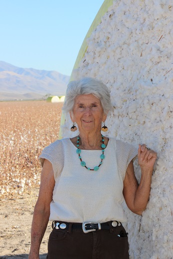 Joan Ruane with local cotton harvest 2017