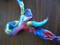 Handpainted Cotton Sliver Ready to Spin